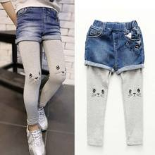 Jeans for girls False two-piece Cat