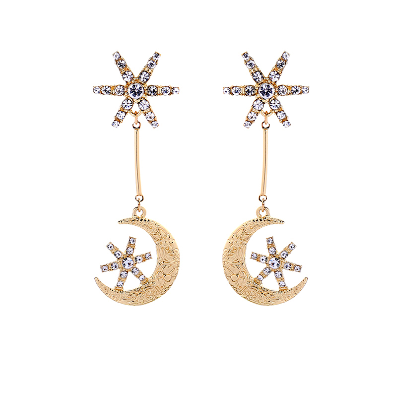 Uer Classic Fashion Gold Color Alloy Crystal Moon Star Statement Drop Earrings Girl Valentine's Day Jewelry ed00986c