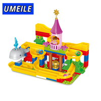 UMEILE Brand 3 Style Funny DIY Race Run Track Construction Balls Rolling Track Building Blocks Compatible