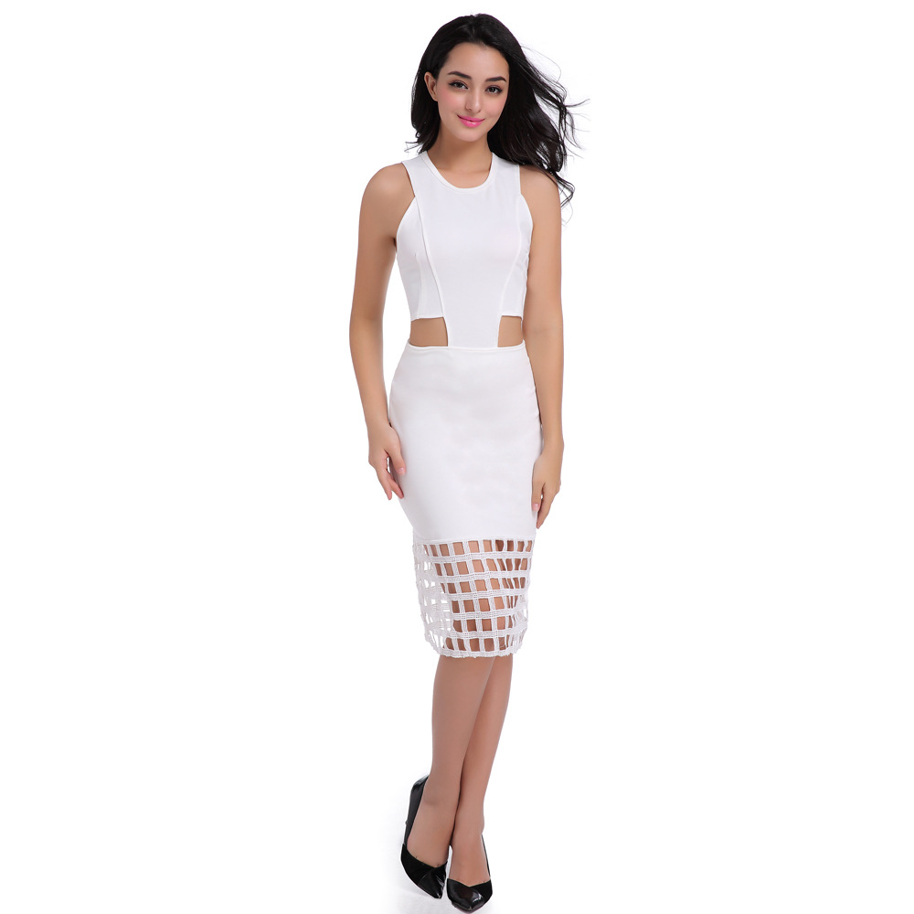 New Fashion Summer sleeveless Drees Sexy O-Neck Women Hollow out Long Dress Pencil Bodycon Ladies white Party Dress Vestidos ...