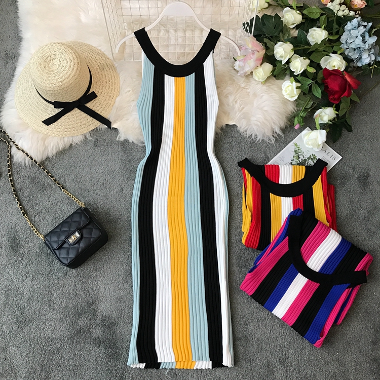 ALPHALMODA Summer 2019 New Round Neck Rainbow Vertical Striped Women Vintage Sexy Knit Dress Sleeveless Pullovers Ladies Vestido 7