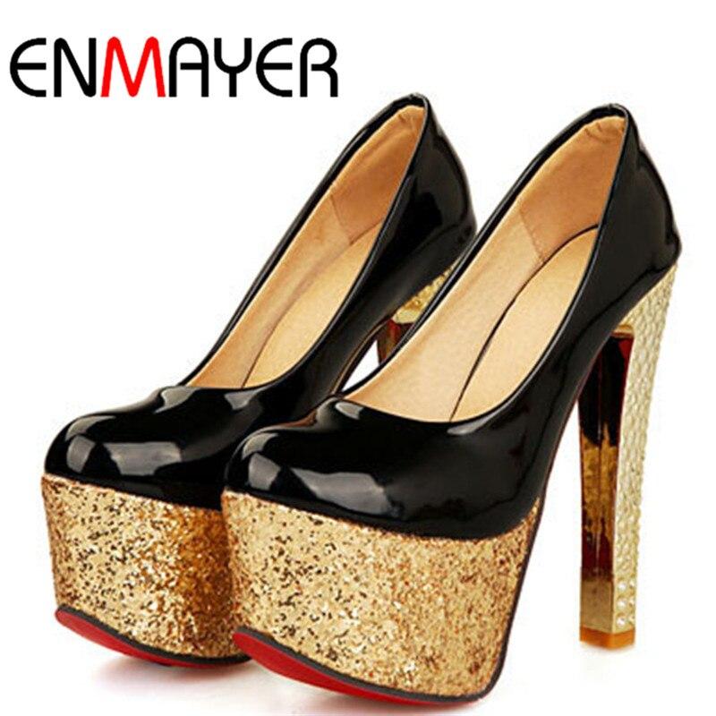 ФОТО ENMAYER Shining Glitter Platform Pumps Black White Red Sexy High Heel Shoes for Ladies Fashion Round Toe Women Pumps Shoes