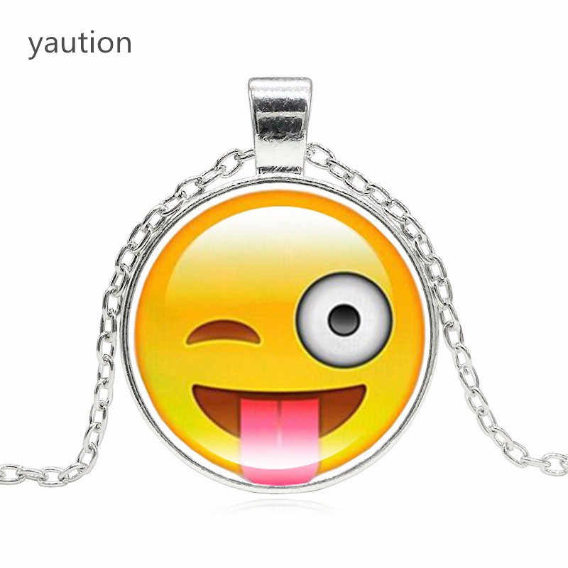 Creative Funny Emoji Glass Cabochon Pendant Silver Chain Statement Necklace Women Fashion Jewelry Party Gift