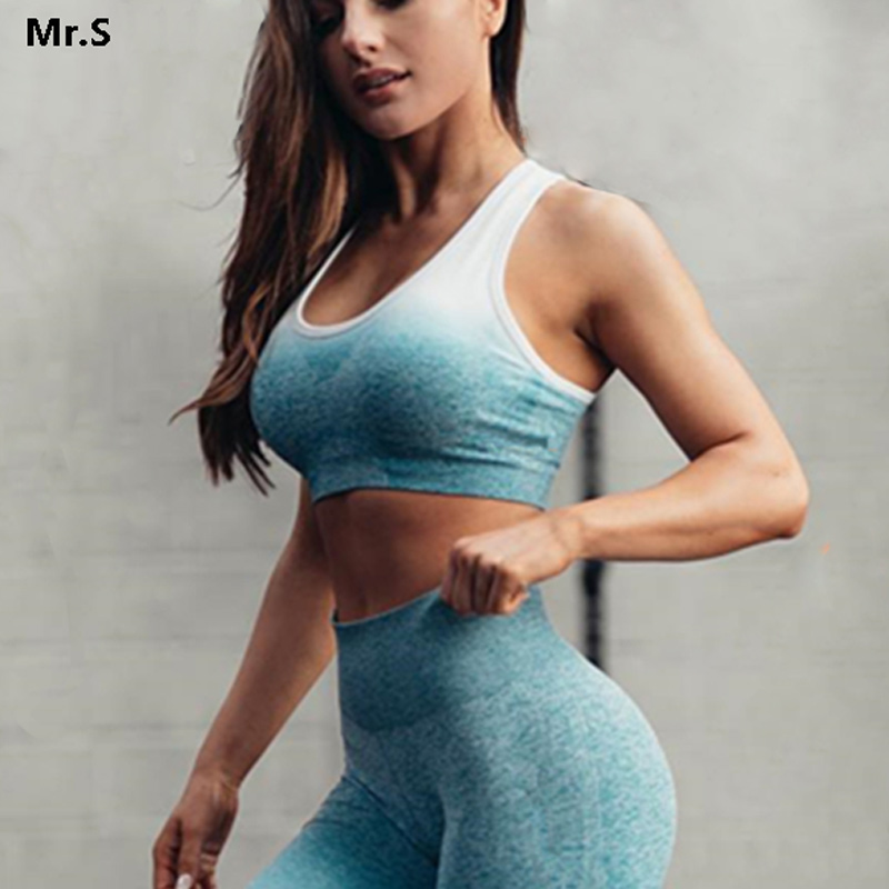 Ombre Energy Seamless Sports Bra for Women Push Up Yoga Bras Gym Crop Top Orange Racerback Workout Bra Fitness Tops Active Wear active candy color scoop neck gym bra for women