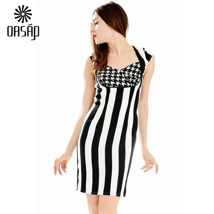 fe0fff437f97 OASAP Design Women Modernist Black White Wide Vertical Stripe Print Mini  Dress Ladies Evening Party Sleeveless -61645