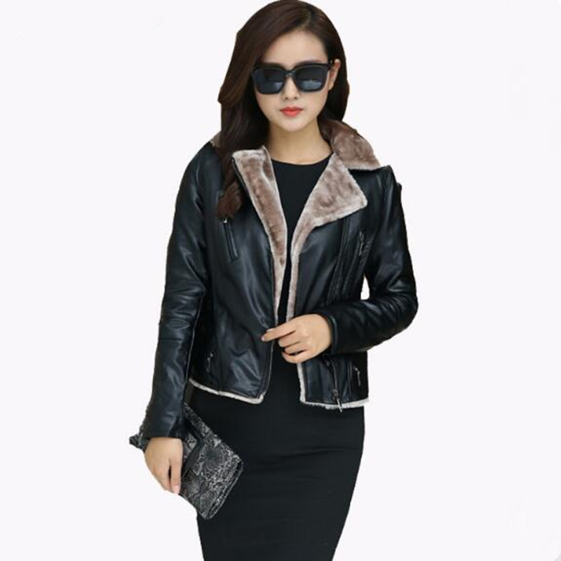 2019 Fall and Winter Slim Short Paragraph Women Jacket Motorcycle High Quality PU Leather Coat Women