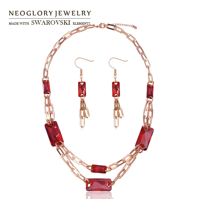 Neoglory MADE WITH SWAROVSKI ELEMENTS Crystal Jewelry Set Red Long Chain KC Gold Color Noble Style Necklace & Earrings Design yoursfs dangle earrings with long chain austria crystal jewelry gift 18k rose gold plated
