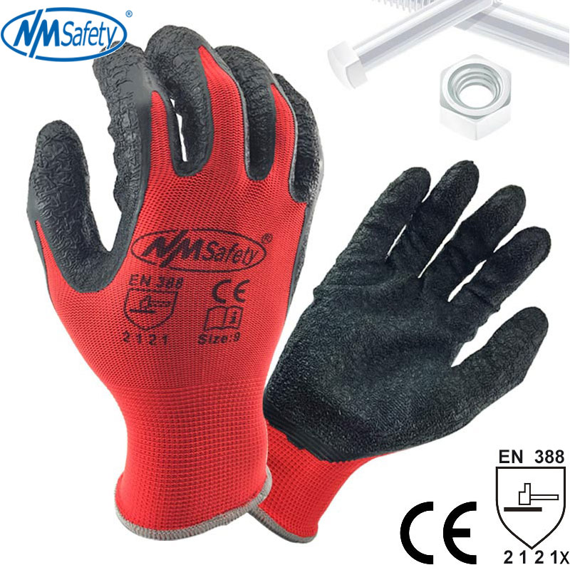 NMSafety Better Grip Ultra-Thin Knit Latex Dip Nylon Red Latex Coated Work Gloves Luvas De Couro