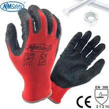 NMSafety Better Grip Ultra Thin Knit Latex Dip Nylon Red Latex Coated Work Gloves luvas de couro
