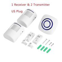 110v 240v sem fio campainha pir sensor infravermelho detector de movimento entrada campainha da porta alarme com receptor & transmissor ue/eua plug quente