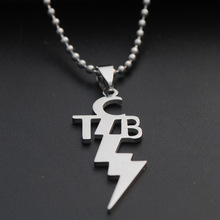 New Stainless Steel Letter TCB English alphabet Necklace Initial Symbol Abbreviation Lightning jewelry