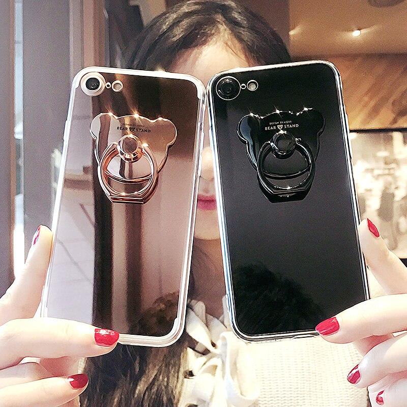 Luxury Lovely Cartoon <font><b>Bear</b></font> Mirror Case TPU <font><b>Ring</b></font> Holder Stand <font><b>Phone</b></font> Case Cover For Iphone 7 7Plus 8 8Plus