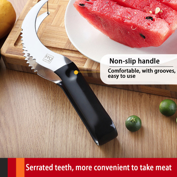 New Fruit Slicer Comfort skid resistance Handle Home Stainless Steel Fruit Cutter Peeler Server for Honeydew Watermelon etc image