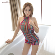 Glamorous Outfit Breathtaking Stunning Party Dress Adult Woman Daily Leisure Bodysuit Rainbow Color Babydoll Sexy Uniform