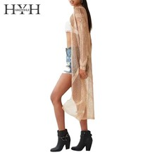 HYH Haoyihui Simple Graceful Elegant Hollow Out Striped Pattern Fashionable Sexy Slim Metallic Sense Golden Knitted Cardigans