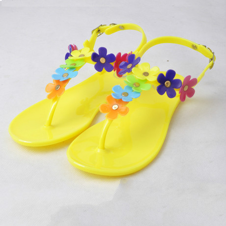 Fashion New Arrival Gladiator Style Sandals T- Strape candy Color Beach Jelly Shoes Flower Flat flip flop Sandals Discount free shipping candy color jelly sandals new plastic chain beach shoes chain flat bottomed out sandals lace up chains women shoes