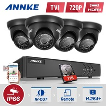 ANNKE 4CH HD TVI 1080P Lite CCTV Video Security System DVR with 1TB Hard Drive and (4) 720P Outdoor Fixed Weatherproof Cameras