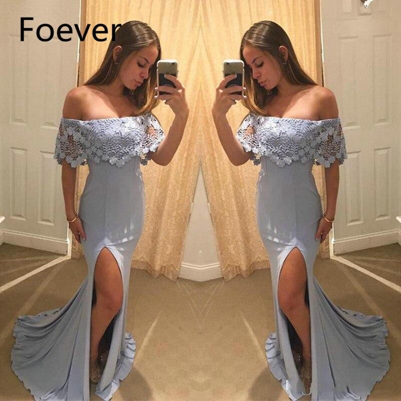 Robe De soirée Simple formelle côté fendu Vestido De Festa 2019 épaule dénudée dentelle Cape allemagne fille robes De soirée