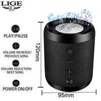 LIGE 2019 Neue Tragbare Bluetooth lautsprecher Portable Sound System 10 W stereo musik surround Wasserdichte Outdoor Lautsprecher TF USB AUX