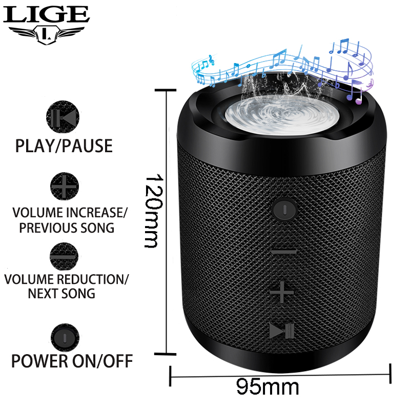 LIGE 2019 Novo Portátil Bluetooth speaker Portátil Sistema de Som 10 W música estéreo surround Speaker TF AUX USB À Prova D' Água Ao Ar Livre