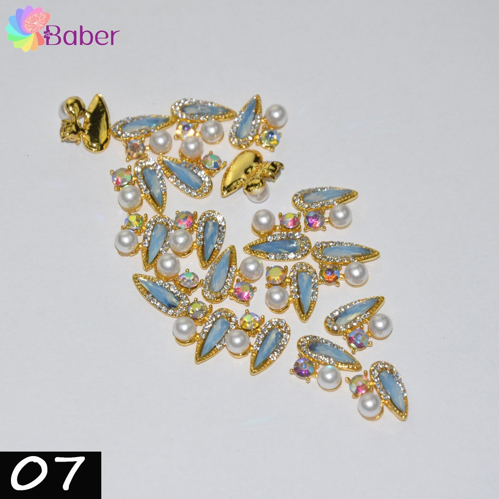 30pcs Rhinestones Crystal Blue Opal Glitter Nail Art Decorations Metal Nails Accessories 3D Design Top Quality Flatback Gems glitter flatback crystal resin rhinestones 2 6mm aquamarine ab color new design for nail art decorations stick drill non hotfix