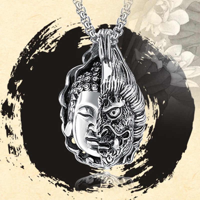 Aibeiou Half Buddha Magic Pendant Personality Evil Thai Prayer Silver  Pendant Retro Men