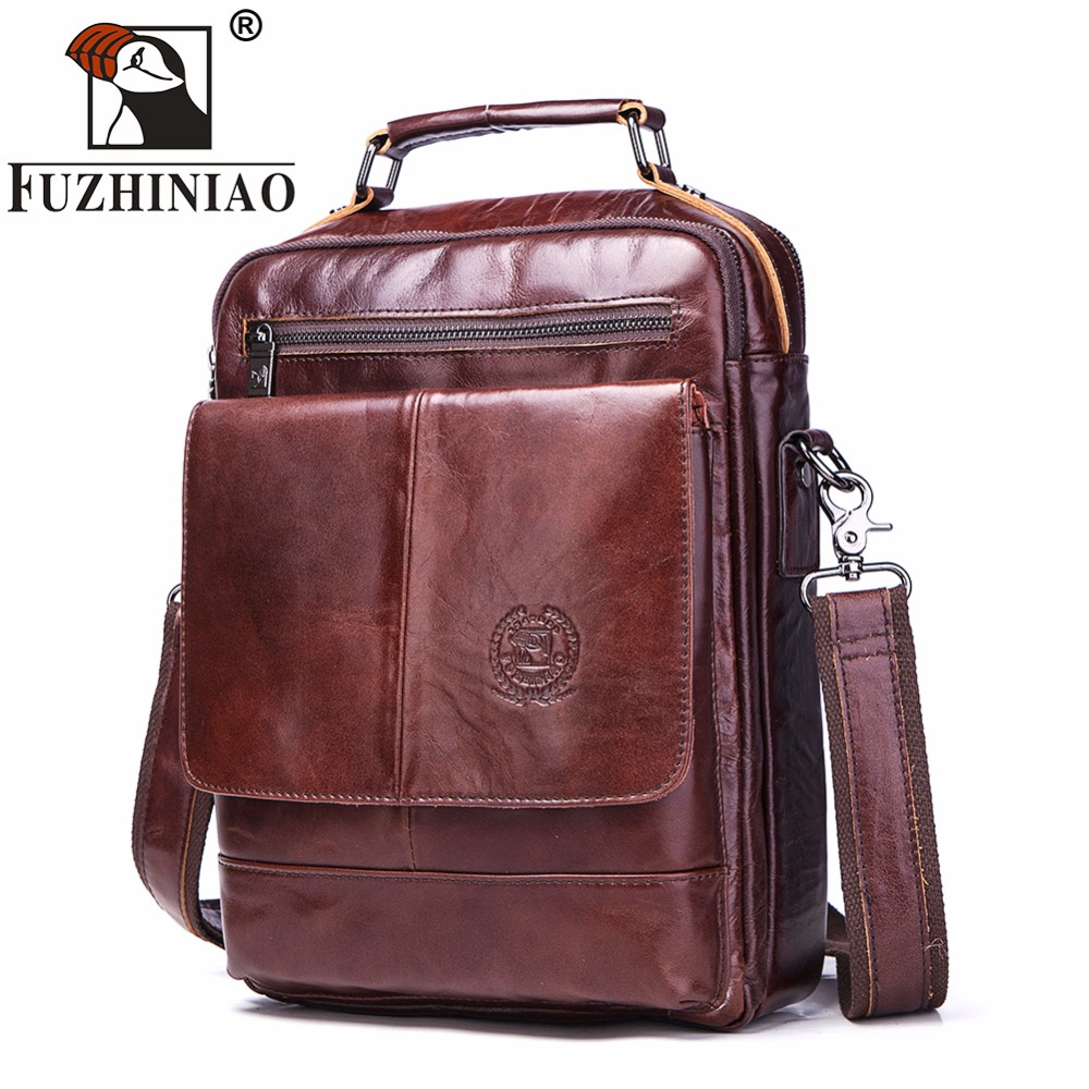 FUZHINIAO Bag Bags High Quality Famous Brand Men Casual Tote Genuine Cow Leather Handbags Crossbody Bag Vintage Zipper Design-in Top-Handle Bags from Luggage & Bags    1
