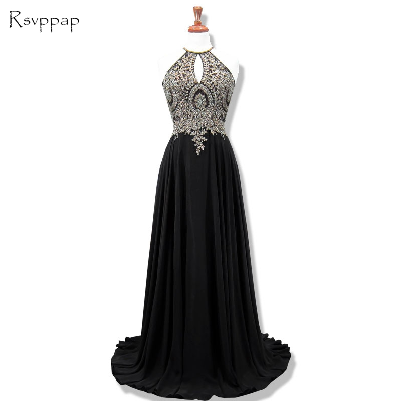 Long Evening Dress 2019 Real Sample Scoop Sleeveless Beaded Applique Floor Length Women Black Formal Evening Gowns