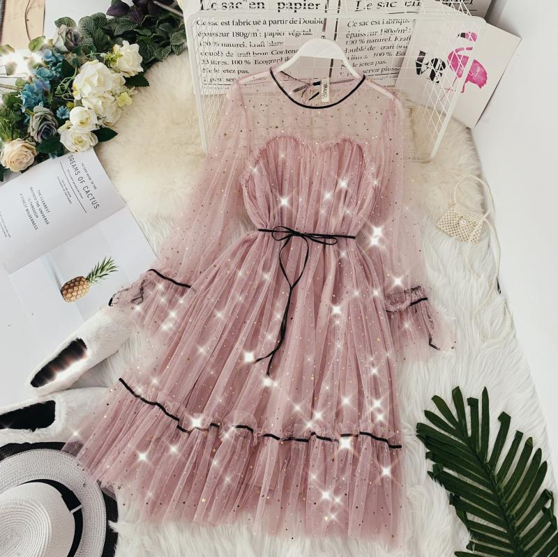 HISUMA spring autumn new women Star sequins gauze flare sleeve lace-up Princess dress female elegant o-neck mesh puff dresses 31