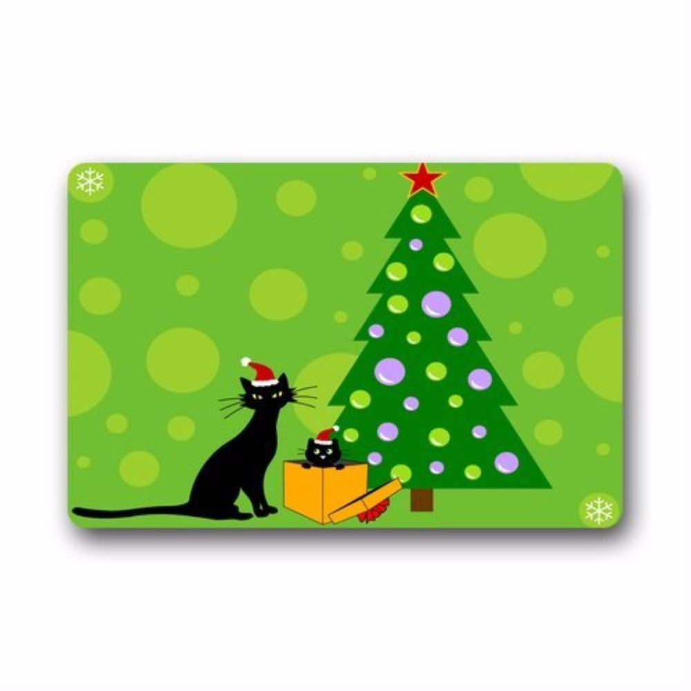 Christmas Tree Made Of Black Cats: Merry Christmas Tree Black Cat Snowflake Custom Doormat
