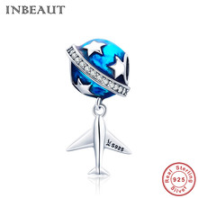 INBEAUT 925 Sterling Silver Blue Enamel Earth Star Travelling Across World Dreamer Airplane Beads Fit Original Trendy Bracelet