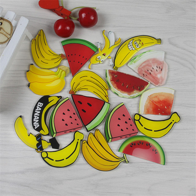 New arrival 1 piece Funny Cartoon fruit Banana, watermelon magnetic stickers Acrylic Fridge Magnets Home Decoration wholesale