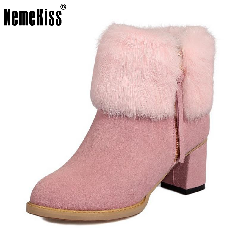 Winter Plush Real Leather Boots Thickened Fur Women Ankle Snow Boots Ladies Zipper Square High Heel Botas Women Shoes Size 32-43 2017 pink shoes woman pu leather square high heel ankle boots zipper women winter shoes ladies motorcycle boots size 33 43