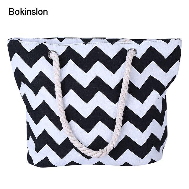 Bokinslon Hemp Rope Bags For Women Simple Cnvas Woman Crossbody Bag Wave Stripes Casual Ladies Bags Practical