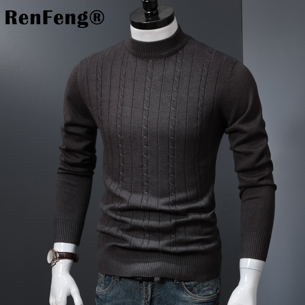 Korean Stretched Thick Warm Men Turtleneck 2018 Winter Mens Sweaters Pullovers Knit Long Sleeve Cashmere Sweater Male Jumper Top (10)
