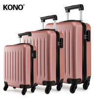 KONO Rolling Hand Luggage Cabin Suitcase Travel Bag Carry on Trolley Case Nude 4 Wheels Spinner Hardside 19 24 28 Inch YD1872L