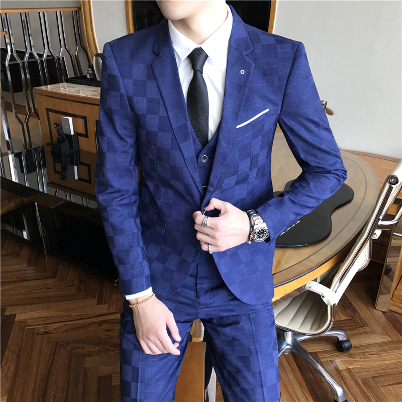 2019 Men Suit Brand Fashion Patchwork Mens Plaid Suits Black Blue Burgundy Costume Homme Mariage Slim Fit Spring Autumn Q105