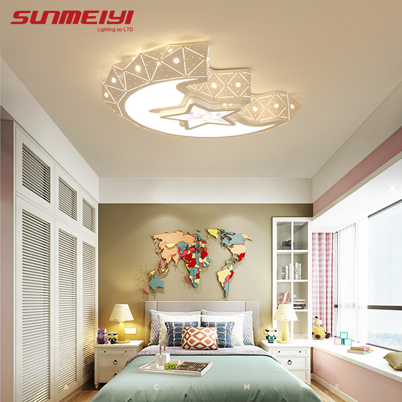 Moon Creative LED Ceiling Lights For Bedroom Kids room dimmable lustre led Lighting Ceiling Modern Indoor Crystal Lamp creative star moon lampshade ceiling light 85 265v 24w led child baby room ceiling lamps foyer bedroom decoration lights