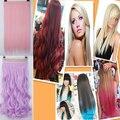 """Largo rizado / ondulado 24 """" extensiones de pelo Clip en extensiones del pelo 100% suave natural sintético marrón peluca rosa rojo púrpura azul"""