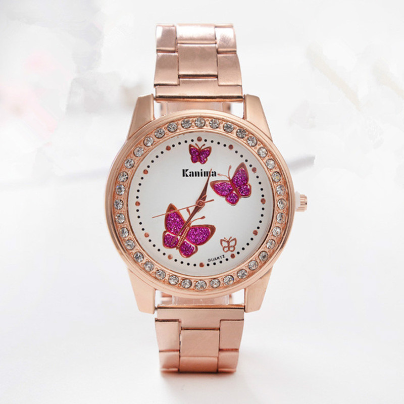 Relogio Feminino Women Watches Crystal Butterfly rose Gold Stainless Steel Wrist Ladies Watch Brand Diamond Wristwatch Clock watch women luxury brand lady crystal fashion rose gold quartz wrist watches female stainless steel wristwatch relogio feminino