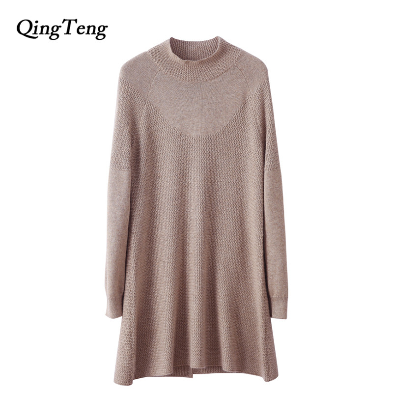 QingTeng 100 Cashmere Women Knitted Half Turtleneck Fall Sweater Dresses Long Sleeve Split Loose Pullover Casual Jumper Female ryeon winter autumn sweater dresses big size women turtleneck long sleeve loose casual grey sexy pullover knitted sweater jumper