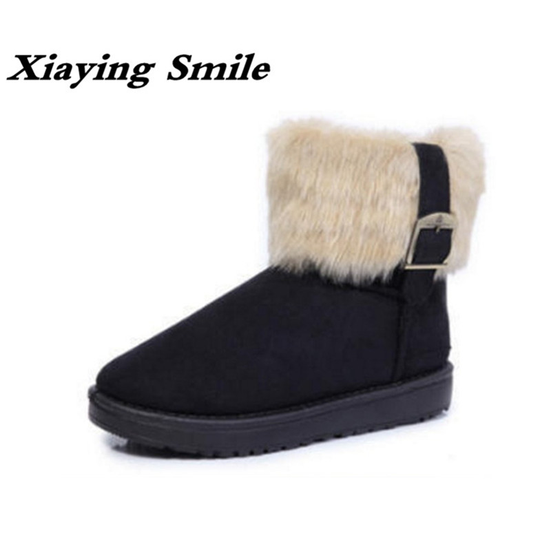 Xiaying Smile New Winter Women Snow Boots Ankle Plush Boots Solid Slip On Flats Fashion Casual Warm Women Round Toe Fur Shoes cute women winter snow boots slip on soft fur warm shoes candy color ankle boots woman round toe solid flat biker boots