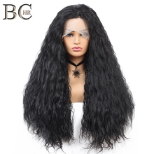 BCHR Long Curly Synthetic 13*4 Lace Front Wigs Natural Black Middle Par