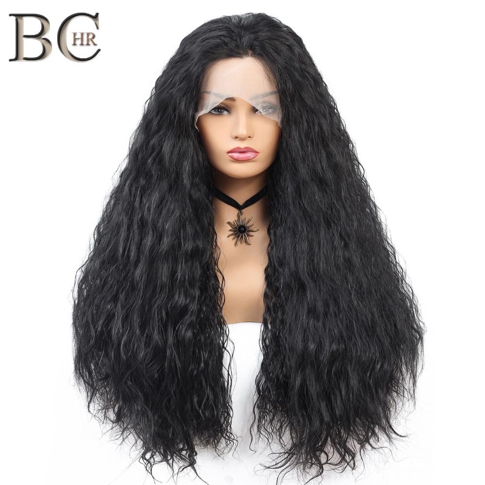 BCHR Long bouclé synthétique 13*4 dentelle avant perruques naturel noir moyen partie longue cheveux dentelle perruque pour les femmes noires