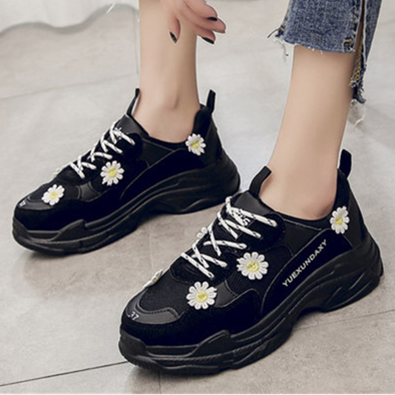 Sneakers Women Platform Mesh Autumn Floral Ladies Flat Shoes Black Platform Sneakers Thick Bottom Dad Chunky Shoes Female A19w