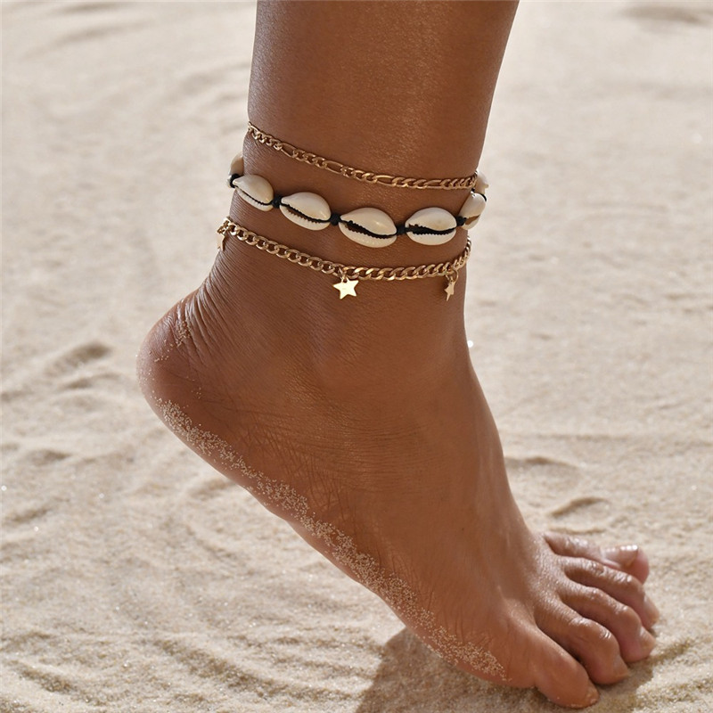 NEWBUY 3Pcs/Set Bohemian Gold Chain Anklets For Women Girl Handmade Made Natural Shell Bracelet For Ankle Foot Jewelry