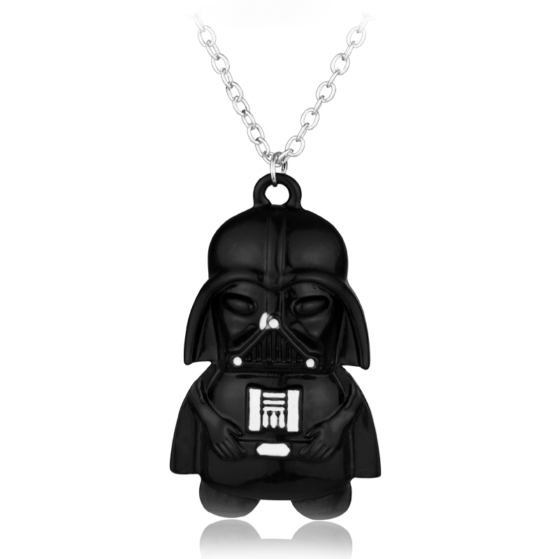 Movie Star Wars Robot Necklace Black Knight Robot bb8 Pendant Necklace Cartoon Figure Jewelry Christmas Gift Game Fans Souvenir
