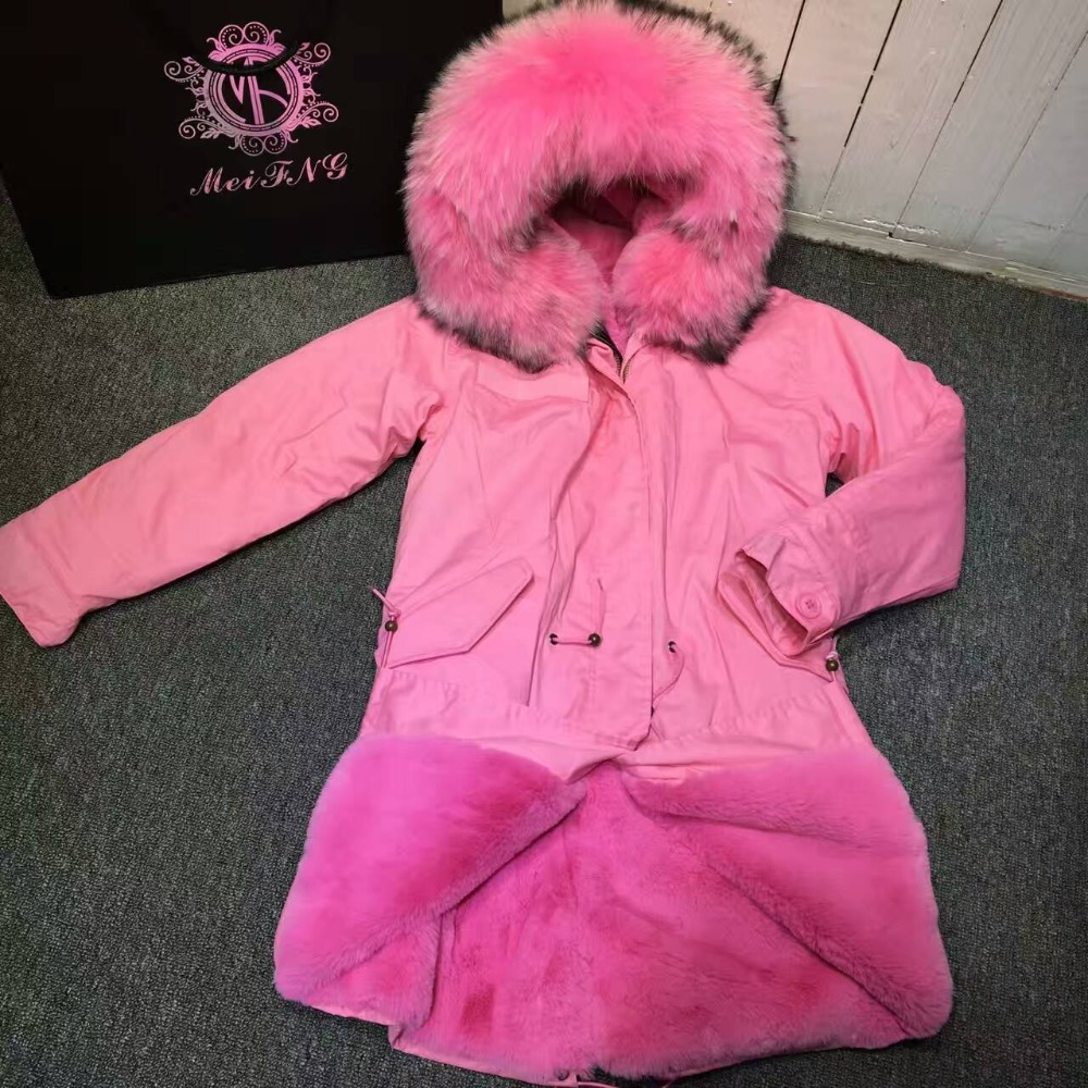 Fashion pink fur jacket ladies wear in winter thickness faux fur inner long length wear in all season