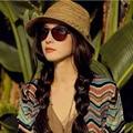 2017 Корейской Версии Новый Дроссель Небольшой Чили Летняя Мода Красочные ручной Конопли Лист Шаблон Случайный соломенная Шляпа