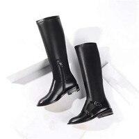 Популярные Брендовые женские ботинки круглый носок длинные пинетки цепи каблук заклепки Украшенные боковой молнией женская обувь металли